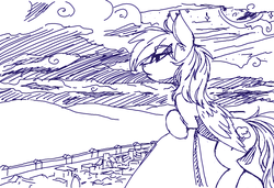 Size: 1206x825 | Tagged: artist:prismspark, balcony, city, cityscape, monochrome, moonlight, ms paint, night, rainbow dash, safe, sketch, solo