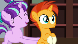 Size: 1280x720 | Tagged: colt, colt sunburst, duo, eyes closed, female, filly, filly starlight, male, open mouth, pushing, safe, screencap, smiling, starlight glimmer, sunburst, uncommon bond, unicorn, younger