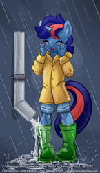 Size: 871x1500 | Tagged: anthro, artist:smudge proof, boots, clothes, commission, oc, oc only, oc:ryo, rain, raincoat, safe, shoes, shorts, sketch, soaked, solo