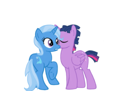 Size: 1024x768 | Tagged: alicorn, artist:turnaboutart, cutie mark, dusk shine, female, half r63 shipping, kissing, kiss on the cheek, male, mare, rule 63, safe, shipping, simple background, stallion, straight, transparent background, trixie, trixshine, twilight sparkle, twilight sparkle (alicorn), twixie