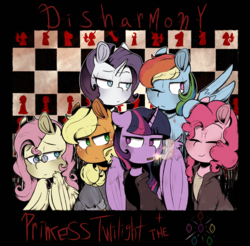 Size: 2285x2251 | Tagged: alicorn, applejack, artist:urbanqhoul, cigarette, earth pony, eyes closed, female, fluttershy, mane six, mare, one eye closed, pegasus, pinkie pie, pony, rainbow dash, rarity, safe, smiling, smoking, twilight sparkle, twilight sparkle (alicorn), unicorn