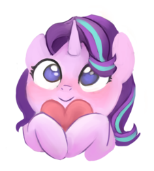Size: 711x787 | Tagged: safe, artist:pucksterv, starlight glimmer, pony, unicorn, :>, blushing, cute, female, glimmerbetes, heart, mare, pucksterv is trying to murder us, simple background, smiling, solo, transparent background, weapons-grade cute