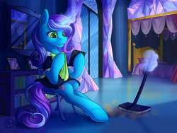 Size: 4000x3000 | Tagged: artist:klarapl, bed, bedroom, blanket, book, bookshelf, broom, chair, cleaning, clothes, commission, crystal, digital art, dress, duster, female, friendship castle, magic glow, maid, mare, mirror, oc, oc only, pillow, pony, safe, shining armor, signature, solo, twilight's castle, twilight sparkle, unicorn, window
