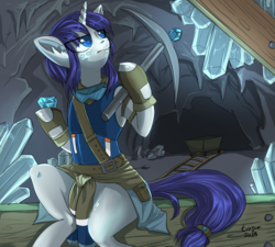 Size: 625x563 | Tagged: alternate universe, artist:trojan-pony, cave, clothes, commission, crystal, digital art, female, gem, hoof hold, mare, mine cart, miner, pickaxe, pony, rarity, safe, signature, sitting, solo, unicorn