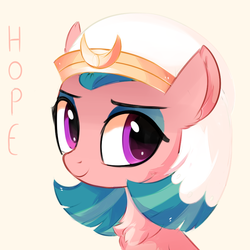 Size: 820x820 | Tagged: artist:aureai, bust, chest fluff, crown, ear fluff, female, happy, jewelry, mare, missing wing, pegasus, pony, regalia, safe, simple background, smiling, solo, somnambula