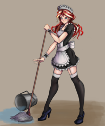 Size: 834x1000 | Tagged: safe, artist:the-park, sunset shimmer, equestria girls, bucket, clothes, female, garter belt, high heels, maid, maid headdress, mop, shoes, simple background, socks, solo, thigh highs