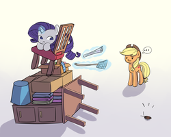 Size: 1500x1200 | Tagged: ..., applejack, artist:tcn1205, behaving like a cat, chair, cockroach, cowboy hat, earth pony, female, flyswatter, glowing horn, hat, magic, mare, pony, rarity, safe, telekinesis, unicorn