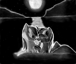 Size: 3652x3100 | Tagged: alicorn, artist:jesterofdestiny, bedroom eyes, black and white, fanfic, fanfic:a night at the lake, fanfic art, female, grayscale, inverted colors, lake, lesbian, looking at each other, lyra heartstrings, monochrome, moon, moonlight, night, safe, shipping, smiling, stars, traditional art, twilight sparkle, twilight sparkle (alicorn), twyra, unicorn, wet mane