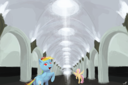 Size: 6000x4000 | Tagged: artist:madgehog, fluttershy, food, happy, looking at you, mares, metro, moscow, pegasus, plot, pony, rainbow dash, safe, subway, underhoof