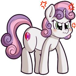 Size: 512x512 | Tagged: safe, artist:anibaruthecat, sweetie belle, pony, unicorn, angry, blushing, cross-popping veins, cute, cutie mark, diasweetes, explicit source, female, filly, scrunchy face, simple background, solo, the cmc's cutie marks, transparent background