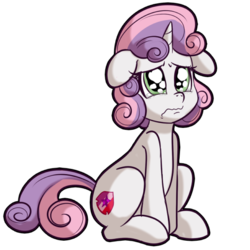Size: 512x512   Tagged: safe, artist:anibaruthecat, sweetie belle, pony, unicorn, crying, cutie mark, explicit source, female, filly, floppy ears, sad, simple background, sitting, solo, teary eyes, the cmc's cutie marks, three quarter view, transparent background, wavy mouth