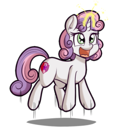 Size: 512x512   Tagged: safe, artist:anibaruthecat, sweetie belle, pony, unicorn, cutie mark, excited, explicit source, female, filly, glowing horn, happy, jumping, magic, open mouth, simple background, solo, sweetie belle's magic brings a great big smile, the cmc's cutie marks, transparent background, wrong magic color