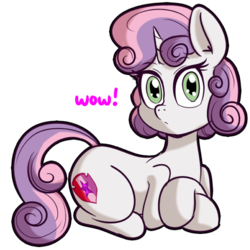 Size: 512x512   Tagged: safe, artist:anibaruthecat, sweetie belle, pony, unicorn, cutie mark, doge, explicit source, female, filly, simple background, solo, the cmc's cutie marks, transparent background, wow