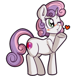 Size: 512x512   Tagged: safe, artist:anibaruthecat, sweetie belle, pony, unicorn, blowing, blowing a kiss, blushing, cutie mark, explicit source, female, filly, heart, one eye closed, simple background, solo, the cmc's cutie marks, transparent background, wink
