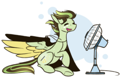 Size: 1024x658 | Tagged: abstract background, artist:ak4neh, electric fan, fan, female, mare, oc, oc:akane, oc only, pegasus, pony, safe, simple background, sitting, solo, spread wings, sweat, sweatdrops, transparent background, wings, ych result