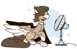 Size: 1024x650 | Tagged: abstract background, artist:ak4neh, bell, bell collar, collar, electric fan, fan, female, mare, oc, oc:ethereal space, oc only, pegasus, pony, safe, simple background, sitting, solo, spread wings, sweat, sweatdrops, transparent background, wings, ych result