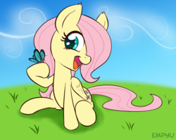 Size: 1000x800 | Tagged: safe, artist:empyu, fluttershy, butterfly, pegasus, pony, 30 minute art challenge, cute, female, filly, folded wings, grass, happy, head turn, hoof hold, looking at something, open mouth, raised hoof, shyabetes, sitting, smiling, solo, three quarter view, younger