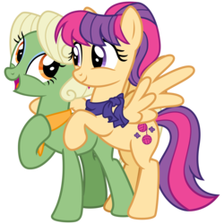 Size: 3200x3200 | Tagged: safe, artist:cheezedoodle96, aunt holiday, auntie lofty, earth pony, pegasus, pony, idw, ponyville mysteries, spoiler:comic, spoiler:comicponyvillemysteries3, .svg available, alternate design, clothes, couple, eye contact, female, hoof on chest, hug, idw showified, lesbian, lofty day, looking at each other, mare, rearing, scarf, shipping, simple background, spread wings, svg, transparent background, vector, wings