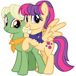 Size: 3200x3200 | Tagged: safe, alternate version, artist:cheezedoodle96, aunt holiday, auntie lofty, earth pony, pegasus, pony, idw, ponyville mysteries, spoiler:comic, spoiler:comicponyvillemysteries3, .svg available, alternate design, clothes, couple, digital art, female, high res, hoof on chest, hug, idw showified, lesbian, lofty day, looking at you, mare, rearing, scarf, shipping, simple background, smiling, spread wings, svg, transparent background, vector, wings