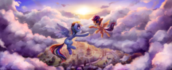 Size: 3000x1226 | Tagged: safe, artist:inowiseei, rainbow dash, scootaloo, pegasus, pony, cloud, commission, cute, featured image, female, filly, flying, looking at each other, mare, open mouth, ponyville, ponyville town hall, scenery, scenery porn, scootaloo can fly, smiling, spread wings, sun, sweet dreams fuel, town, wings