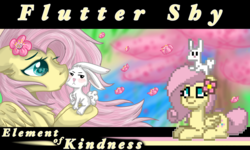 Size: 1572x946 | Tagged: angel bunny, angelshy, artist:frostyshield951, cannon, edit, fanart, female, flower, flower in hair, fluttershy, interspecies, kissing, kiss on the cheek, lies, male, pony, pony town, river, safe, sakura trees, shipping, straight, text edit, wings