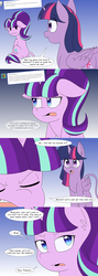 Size: 1000x2800 | Tagged: alicorn, annoyed, comic, dialogue, leonine tail, pony, safe, series:glimmering spectacle, sitting, starlight glimmer, tumblr, twilight sparkle, twilight sparkle (alicorn), unicorn