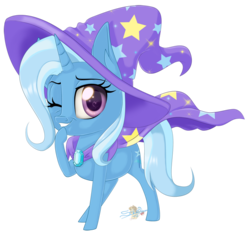 Size: 800x753 | Tagged: artist:unisoleil, cape, clothes, cute, diatrixes, female, hat, mare, one eye closed, pony, safe, simple background, solo, transparent background, trixie, trixie's cape, trixie's hat, unicorn, wink