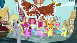 Size: 1278x719 | Tagged: safe, screencap, berry punch, berryshine, carrot top, coco crusoe, derpy hooves, golden harvest, lemon hearts, orchid dew, pinkie pie, earth pony, pegasus, pony, unicorn, yakity-sax, background pony, discovery family logo, female, herd, male, mare, running, scared, stallion, wrong eye color, yovidaphone