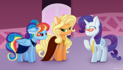 Size: 7000x4000 | Tagged: safe, artist:lavenderheartsmlp, applejack, rainbow dash, rarity, pony, and then there's rarity, applejack also dresses in style, applejack is not amused, clothes, dress, female, forced makeover, makeover, mare, measuring tape, rainbow dash always dresses in style, rainbow dash always grooms in style, rainbow dash is not amused, rarity's glasses, smiling, unamused