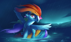 Size: 5000x3000 | Tagged: safe, artist:auroriia, rainbow dash, pegasus, pony, absurd resolution, backwards cutie mark, bow, cute, dashabetes, digital art, female, floppy ears, mare, mlem, rain, scenery, signature, silly, solo, tongue out, updated, water