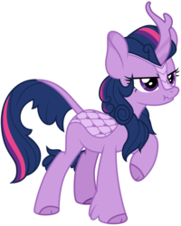 Size: 4096x5116 | Tagged: safe, artist:amarthgul, twilight sparkle, kirin, sounds of silence, absurd resolution, cloven hooves, female, kirin twilight, kirin-ified, leonine tail, raised hoof, scrunchy face, simple background, solo, species swap, standing, transparent background, twilight is not amused, unamused, vector