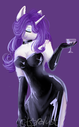 Size: 1024x1636 | Tagged: safe, artist:thenightdarksecret, rarity, anthro, bare shoulders, beautiful, black dress, breasts, busty rarity, classy, cleavage, clothes, digital art, dress, elegant, evening dress, evening gloves, eyelashes, eyes closed, female, fluffy, glass, gloves, hair over one eye, jewelry, long dress, long gloves, necklace, open clothes, purple background, side slit, sideboob, signature, simple background, solo, total sideslit