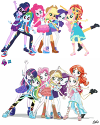 Size: 1080x1350 | Tagged: safe, artist:ritalux, edit, applejack, fluttershy, pinkie pie, rainbow dash, rarity, sci-twi, sunset shimmer, twilight sparkle, equestria girls, equestria girls series, clothes, comparison, converse, cowboy hat, cute, dress, equestria girls prototype, feet, freckles, geode of empathy, geode of fauna, geode of shielding, geode of sugar bombs, geode of super speed, geode of super strength, geode of telekinesis, glasses, hasbro logo, hat, humane five, humane seven, humane six, lidded eyes, looking at you, magical geodes, official, official art, open mouth, pants, pantyhose, pose, promotional art, sandals, shoes, simple background, smiling, sneakers, stetson, white background