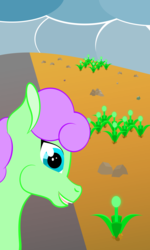 Size: 1800x3000 | Tagged: artist:alltimemine, cloud, cloudy, earth pony, female, inkscape, mare, oc, oc:forest brook, oc only, open mouth, plant, pony, rock, safe, smiling, solo, teeth, vector, wasteland