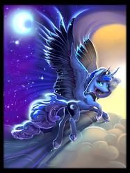 Size: 2000x2667 | Tagged: alicorn, artist:viwrastupr, blanket design, cloud, crescent moon, female, flying, looking at you, mare, moon, night, princess luna, safe, sky, solo, stars