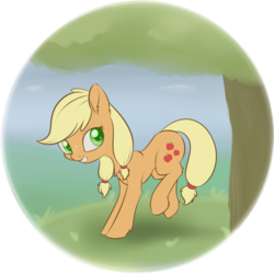 Size: 1366x1366 | Tagged: safe, artist:dusthiel, applejack, earth pony, pony, applebucking, cute, female, filly, hatless, jackabetes, missing accessory, simple background, smiling, solo, transparent background, tree