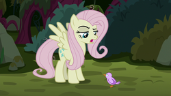 Size: 1280x720 | Tagged: safe, screencap, mean fluttershy, bird, pegasus, pony, season 8, the mean 6, chick, clone, duo, female, mare, open mouth, raised eyebrow, spread wings, wings