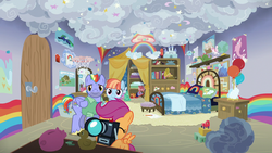 Size: 1280x720 | Tagged: safe, screencap, bow hothoof, scootaloo, windy whistles, cat, dinosaur, dragon, narwhal, tortoise, parental glideance, balloon, bed, bedroom, blocks, book, bookshelf, camera, castle, globe, musical instrument, piggy bank, pillow, pony toy, poster, rainbow, rubber duck, stars, teddy bear, toy car, tuba