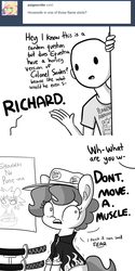 Size: 1650x3300 | Tagged: artist:tjpones, ask, bowl, clothes, comic, dialogue, ear fluff, earth pony, female, food wars, hat, horse wife, human, human male, male, mare, oc, oc:brownie bun, oc:richard, planetary annihilation, ponified, pony, poster, safe, scared, shaking, shirt, shokugeki no soma, sword, tumblr, weapon, yukihira soma