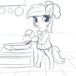 Size: 1650x1650 | Tagged: artist:tjpones, bipedal, bowl, chef, chef's hat, cooking, ear fluff, female, hat, hoof hold, mare, monochrome, pegasus, pony, rainbow dash, safe, simple background, sketch, smiling, white background