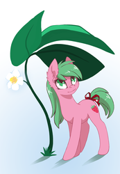 Size: 1727x2500 | Tagged: artist:arctic-fox, earth pony, female, leaf, mare, oc, oc only, oc:pine berry, pony, safe, smiling, solo