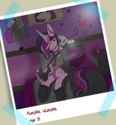 Size: 2397x2591   Tagged: safe, artist:cckittycreative, starlight glimmer, pony, unicorn, beanie, bed, clothes, edgelight glimmer, electric guitar, emo, eyeshadow, female, goth, guitar, hair over one eye, hat, makeup, musical instrument, nickname, photo, photo album, poster, punk, solo, starlight's room, teenage glimmer, teenager
