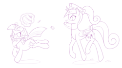 Size: 1200x671 | Tagged: safe, artist:dstears, princess cadance, twilight sparkle, alicorn, unicorn, bandana, bow, cookie, cookie jar, cute, female, filly, filly twilight sparkle, food, game, glowing horn, magic, monochrome, police hat, simple background, sketch, smiling, tail bow, unicorn twilight, white background, younger