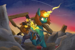 Size: 1500x1000 | Tagged: amputee, artist:lux, commission, cyborg, fallout equestria, female, glowing horn, gun, levitation, magic, mare, oc, oc:dust runner, oc only, prosthetic limb, prosthetics, safe, solo, telekinesis, unicorn, wasteland, weapon