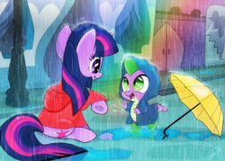 Size: 1549x1107 | Tagged: safe, artist:dsana, spike, twilight sparkle, dragon, pony, unicorn, baby, baby dragon, boots, canterlot, clothes, cute, cutie mark, dsana is trying to murder us, female, filly, filly twilight sparkle, hoodie, looking at each other, male, mama twilight, open mouth, puddle, rain, rainbow, raincoat, shoes, signature, sitting, smiling, spikabetes, twiabetes, umbrella, unicorn twilight, younger
