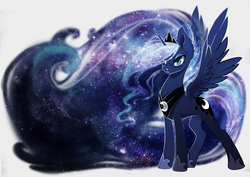 Size: 2500x1768 | Tagged: alicorn, artist:arctic-fox, ethereal mane, female, fluffy, freckles, galaxy mane, looking at you, mare, pony, princess luna, safe, simple background, solo, spread wings, white background, wings
