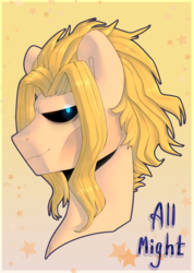 Size: 795x1119 | Tagged: safe, artist:tigra0118, pony, all might, anime, bnha, bust, male, my hero academia, my little pony, ponified, portrait, quirked pony, small might, solo, true form