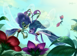 Size: 2797x2025 | Tagged: safe, artist:luciferamon, seabreeze, breezie, angry, cute, diabreezies, drinking, featured image, flower, flying, frown, glare, grin, hoof hold, looking back, puffy cheeks, signature, smiling, squee, unamused, water, water droplet