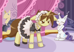Size: 1125x800 | Tagged: safe, artist:howxu, rarity, oc, pony, unicorn, blushing, clothes, duo, eyes closed, female, maid, mannequin, mare, open mouth, smiling, unamused
