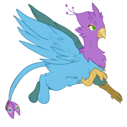 Size: 700x700 | Tagged: safe, artist:six-bane, oc, oc only, oc:gyro feather, oc:gyro tech, griffon, griffonized, simple background, solo, species swap, transparent background